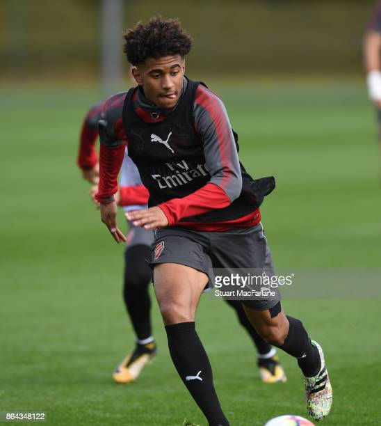 Reiss Nelson of Arsenal during a training session at London Colney on October 21 2017 in St Albans England