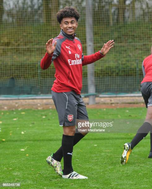 Reiss Nelson of Arsenal during a training session at London Colney on October 23 2017 in St Albans England