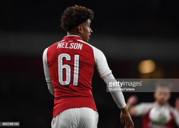 Reiss Nelson of Arsenal during the Carabao Cup Third Round match between Arsenal and Doncaster Rovers at Emirates Stadium on September 19 2017 in...