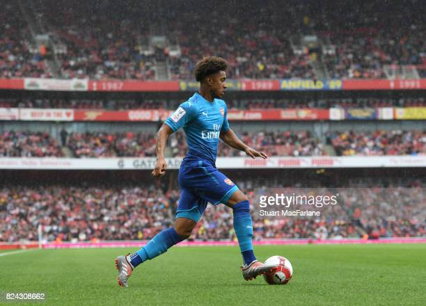 Reiss Nelson of Arsenal during the Emirates Cup match between Arsenal and SL Benfica at Emirates Stadium on July 29 2017 in London England