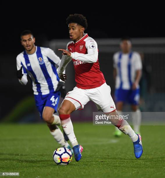 Reiss Nelson of Arsenal during the match between Arsenal U23 and Porto at Meadow Park on November 17 2017 in Borehamwood England