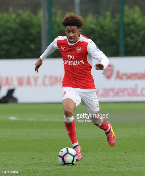 Reiss Nelson of Arsenal during the match between Arsenal U23 and Tottenham Hotspur U23 at London Colney on March 3 2017 in St Albans England