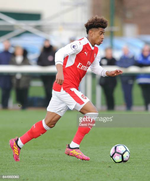 Reiss Nelson of Arsenal during the match between Arsenal U23 and Chelsea U23 at London Colney on February 24 2017 in St Albans England