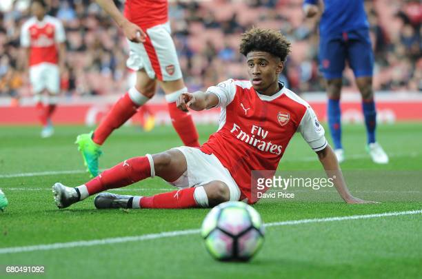 Reiss Nelson of Arsenal during the Premier League 2 match between Arsenal U23 and Manchester United U23 at Emirates Stadium on May 8 2017 in London...