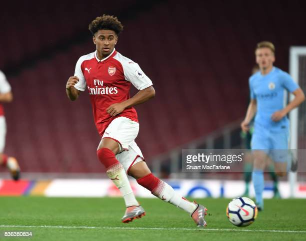 Reiss Nelson of Arsenal during the Premier League 2 match between Arsenal and Manchester City at Emirates Stadium on August 21 2017 in London England