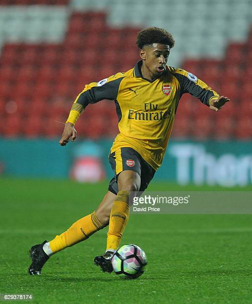 Reiss Nelson of Arsenal during the Premier League match between Arsenal and Stoke City at Anfield on December 12 2016 in Liverpool England