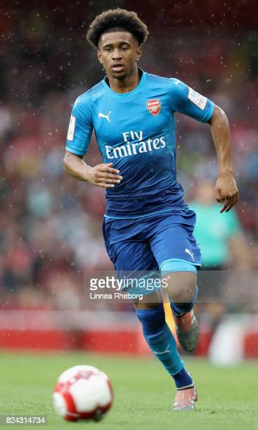 Reiss Nelson of Arsenal during the preseason friendly match between Arsenal v SL Benfica during the Emirates Cup at Emirates Stadium on July 29 2017...
