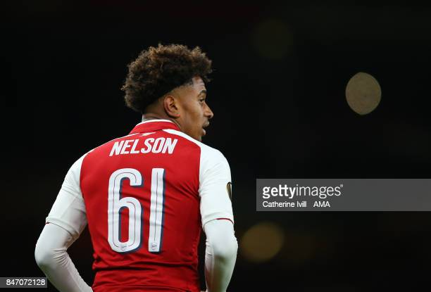 Reiss Nelson of Arsenal during the UEFA Europa League group H match between Arsenal FC and 1 FC Koeln at Emirates Stadium on September 14 2017 in...