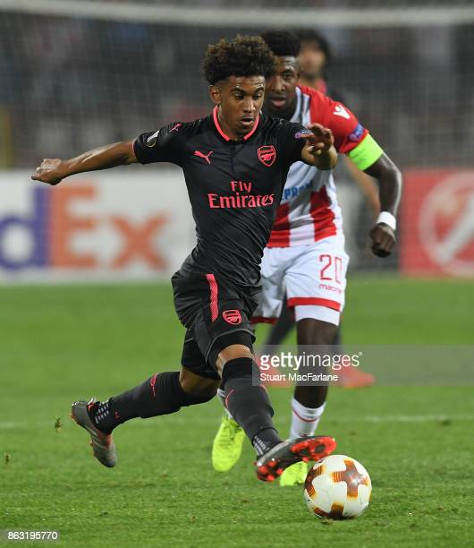 Reiss Nelson of Arsenal during the UEFA Europa League group H match between Crvena Zvezda and Arsenal FC at Rajko Mitic Stadium on October 19 2017 in...
