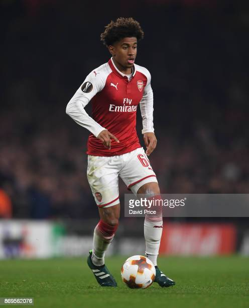 Reiss Nelson of Arsenal during the UEFA Europa League group H match between Arsenal FC and Crvena Zvezda at Emirates Stadium on November 2 2017 in...