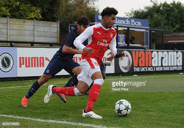 Reiss Nelson of Arsenal during the UEFA Youth League match between Arsenal and Paris Saint Germain at Meadow Park on November 23 2016 in Borehamwood...