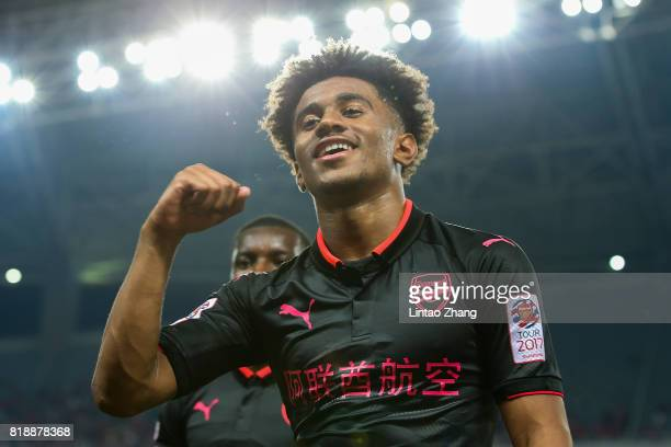 Reiss Nelson of Arsenal FC celebrates after win the 2017 International Champions Cup football match between FC Bayern and Arsenal FC at Shanghai...