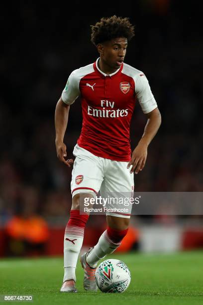 Reiss Nelson of Arsenal in action during the Carabao Cup Fourth Round match between Arsenal and Norwich City at Emirates Stadium on October 24 2017...