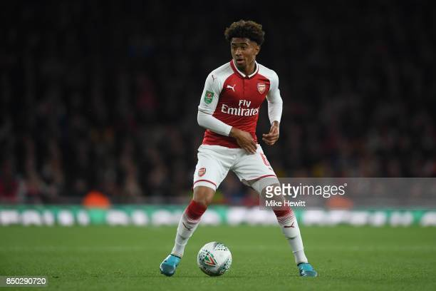 Reiss Nelson of Arsenal in action during the Carabao Cup Third Round match between Arsenal and Doncaster Rovers at Emirates Stadium on September 20...