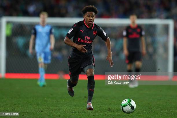 Reiss Nelson of Arsenal in action during the match between Sydney FC and Arsenal FC at ANZ Stadium on July 13 2017 in Sydney Australia