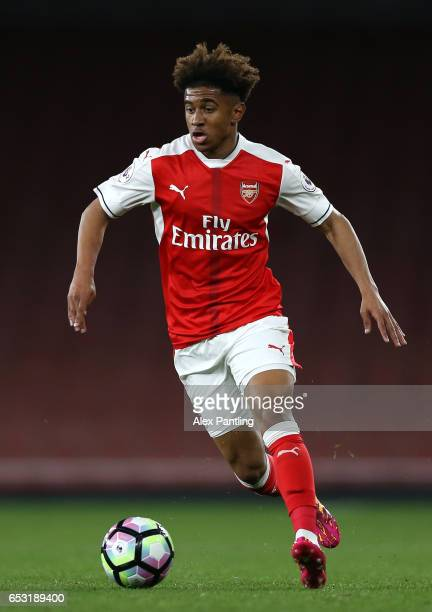 Reiss Nelson of Arsenal in action during the Premier League 2 match between Arsenal and Manchester City at Emirates Stadium on March 13 2017 in...