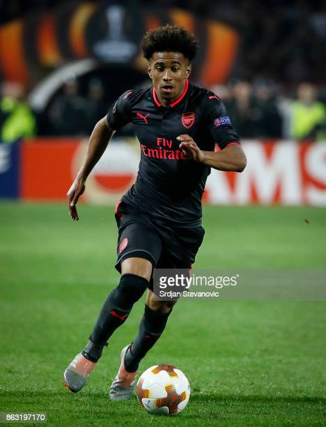 Reiss Nelson of Arsenal in action during the UEFA Europa League group H match between Crvena Zvezda and Arsenal FC at Rajko Mitic Stadium on October...