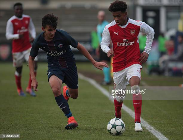 Reiss Nelson of Arsenal Under 19s during UEFA Youth League match between Arsenal against Paris SaintGermain at BorehamWood Football Club on November...