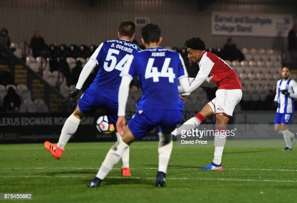 Reiss Nelson scores Arsenal's goal during the match between Arsenal U23 and Porto at Meadow Park on November 17 2017 in Borehamwood England