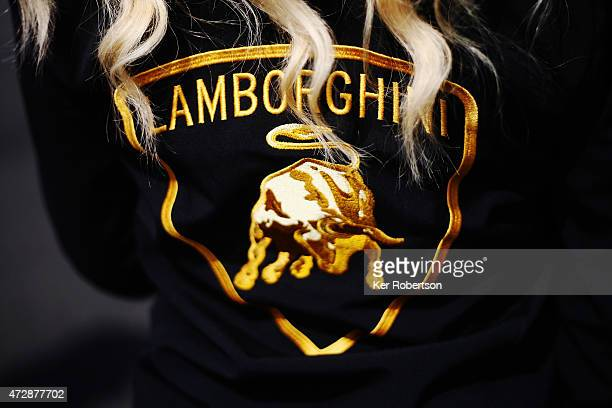 Reiter Engineering Lamborghini Gallardo grid girl is seen at the Blancpain GT Sprint Series event at Brands Hatch on May 10 2015 in Longfield England