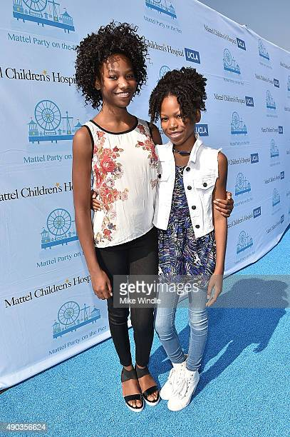 Reiya Downs and Riele Downs attend the Mattel Party On The Pier at Santa Monica Pier on September 27 2015 in Santa Monica California