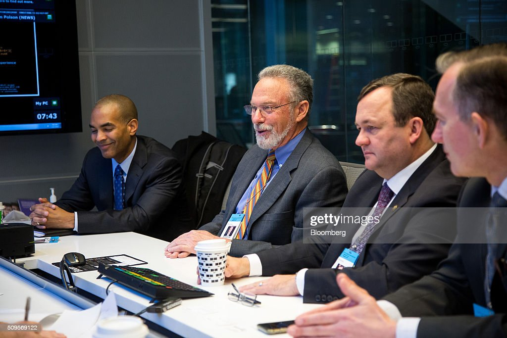 Rejji Hayes, senior vice president and chief financial officer of ITC Holdings Corp., from left, <a gi-track='captionPersonalityLinkClicked' href=/galleries/search?phrase=Joseph+Welch+-+Businessman&family=editorial&specificpeople=12847522 ng-click='$event.stopPropagation()'>Joseph Welch</a>, chairman, president and chief executive officer of ITC Holdings, Barry Perry, president and chief executive officer of Fortis Inc., and Karl Smith, executive vice president and chief financial officer of Fortis, right, participate in an interview in New York, U.S., on Thursday, Feb. 11, 2016. Fortis Inc., Canadas largest utility owner, is confident it can find an investor to take a stake in ITC Holdings Corp. as part of its $6.9 billion takeover of the U.S. transmission line operator. Photographer: Michael Nagle/Bloomberg via Getty Images
