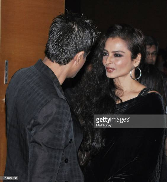 Rekha chats with Shah Rukh Khan at Big Pictures' success bash held in Mumbai on February 28 2010