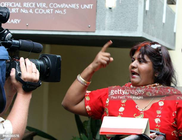 Rekha Moneea wife of Sandip Moneea protests her husbands innocence outside the Supreme Court in Port Louis Mauritius on day three of the murder trial...