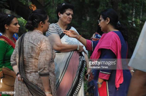Rekha Sharma Additional Charge Chairperson National Commission for Women investigating at BHU campus on October 5 2017 in Varanasi India The National...