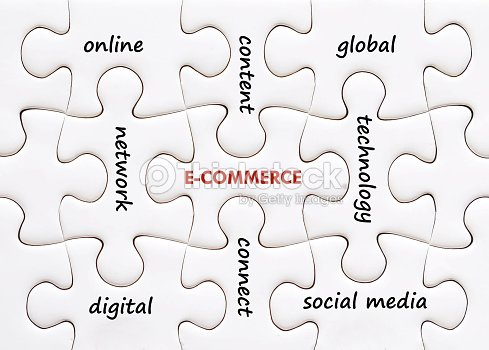 Related Ecommerce Words On Jigsaw Puzzle Background Stock