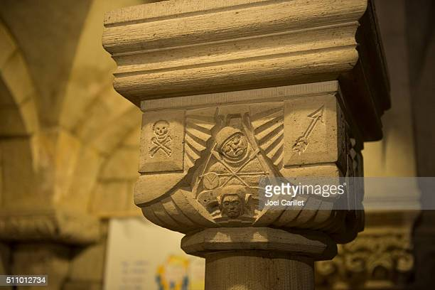 WWI related relief sculpture in crypt of Verdun Cathedral, France