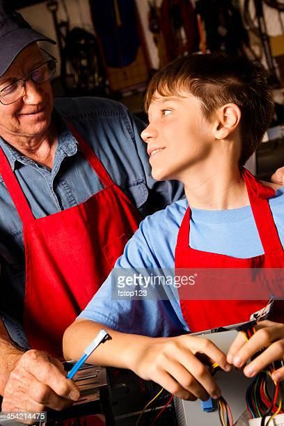 Rapporti: Nonno e nipote in officina.