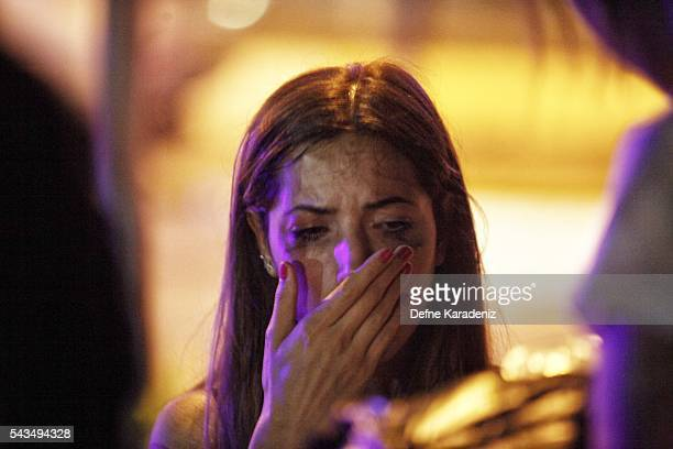 A relative of the Ataturk Airport suicide bomb attack victim waits outside Bakirkoy Sadi Konuk Hospital as she cries in the early hours of June 29...