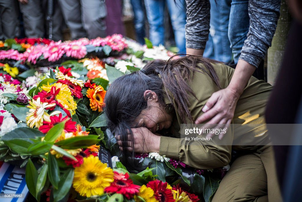 Relatives and family members seen mourning during the funeral of Hadar Cohen on February 4, 2016 in Ehud, Israel. Hadar Cohen was killed yesterday by 3 Palestinians as they carried out an attack at Damascus gate in Old City of Jerusalem.