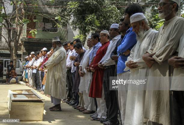 Relatives and friends attend the funeral prayer of Bangladeshi activist Xulhaz Mannan in Dhaka on April 26 2016 Two leading gay rights activists were...