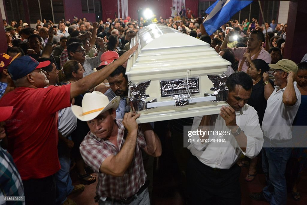 Relatives and friends carry the coffin of murdered indigenous activist Berta Caceres during her funeral in La Esperanza 200 km northwest of...