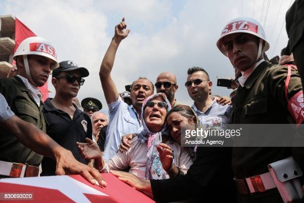 Relatives and Hatice mother of Turkish soldier martyred following the clash with the PKK terrorists in Macka district of northeastern Trabzon...