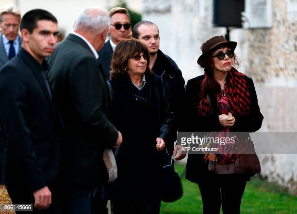 Relatives arrive to attend the funeral service of the French actress Danielle Darrieux in BoisleRoi northwestern France on October 25 2017 / AFP...