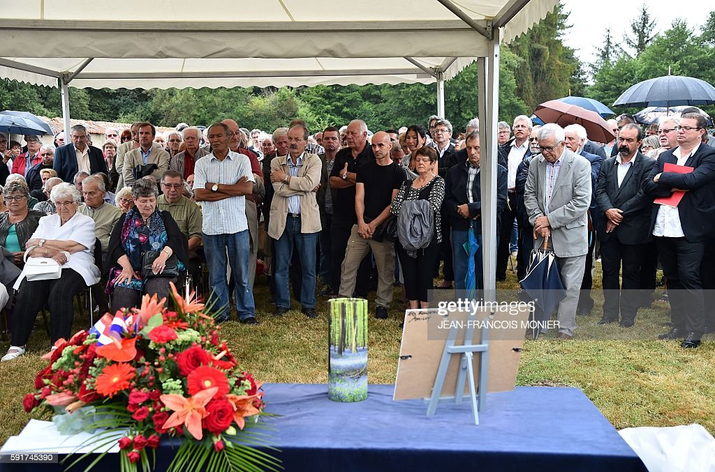Relatives attend with secretary general of French major union CGT Philippe Martinez and secretary general of the CGT railway Gregory Roux the funeral...