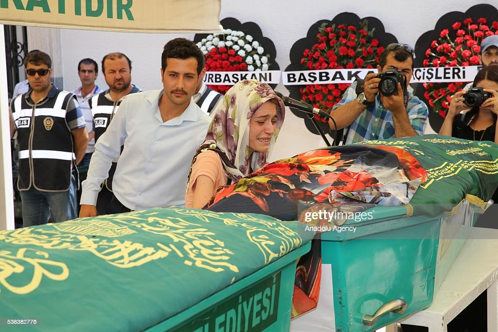 Relatives mourn around the coffin of Hayriye Nur Seviner and Nehir Uludag after a bus carrying primary school students teachers and parents toppling...