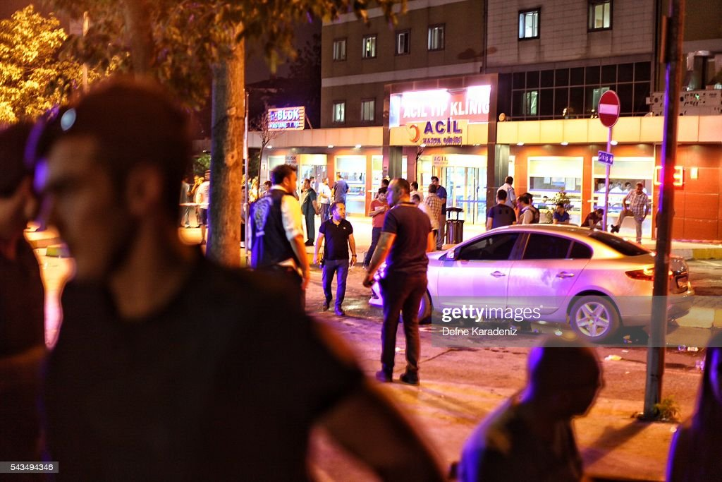 Relatives of Ataturk Airport suicide bomb attack victims wait outside Bakirkoy Sadi Konuk Hospital, in the early hours of June 29, 2016 in Istanbul, Turkey. Three suicide bombers opened fire before blowing themselves up at the entrance to the main international airport in Istanbul, killing at least 31 people and wounding 147 people according to Justice Minister Bekir Bozdag.