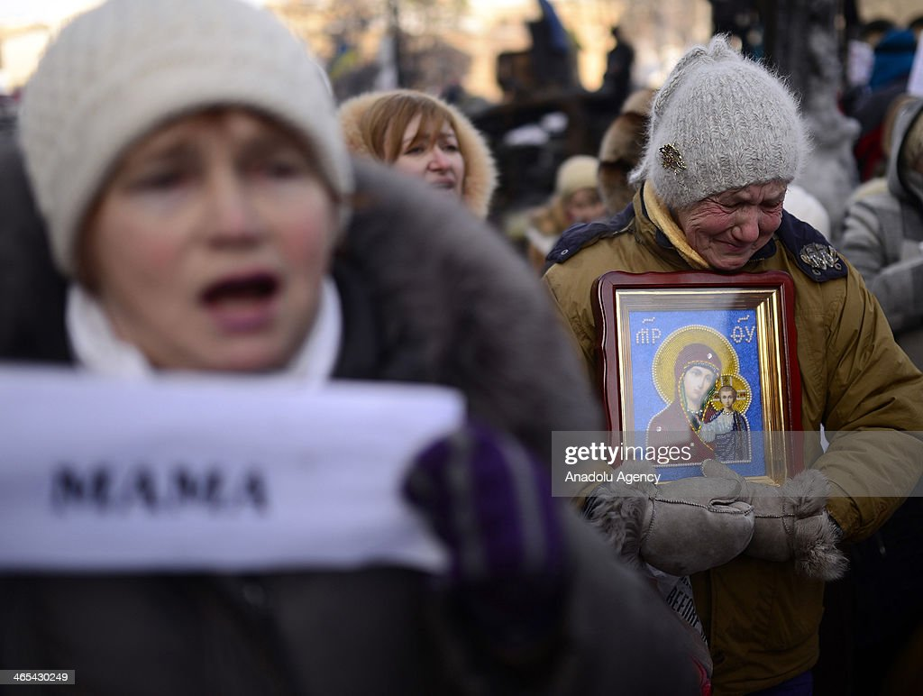 Relatives of demonstrators who lost their lives and wounded during the on-going anti-government protests stage a demonstration in Kiev, Ukraine, on January 27, 2014.
