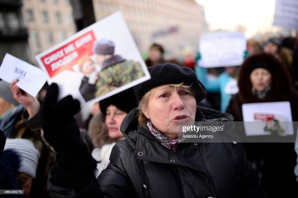 Relatives of demonstrators who lost their lives and wounded during the on-going anti-government protests, stage a demonstration in Kiev, Ukraine, on January 27, 2014.