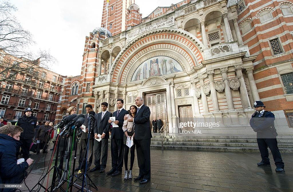 Relatives of late nurse Jacintha Saldanha, son Junal Saldanha (3-L), husband, Benedict Barboza (3-R), daughter Lisha Saldanha, family friend Stephen Almeida (L), and MP Keith Vaz leave Westminster Cathedral in central London following of a service of Thanksgiving for the life of Jacintha Saldanha on December 15, 2012. The children of a nurse found hanged after she was duped by a hoax phone call to the hospital treating Prince William's wife Catherine told a mass in her memory her death left 'an unfillable void'. Indian-born Jacintha Saldanha, 46, apparently killed herself in nurses' accommodation at King Edward VII's Hospital in London last week.