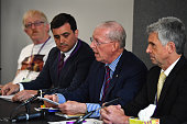 Relatives of military personnel killed during the Iraq War talk at a news conference after listening to Sir John Chilcot present The Iraq Inquiry...