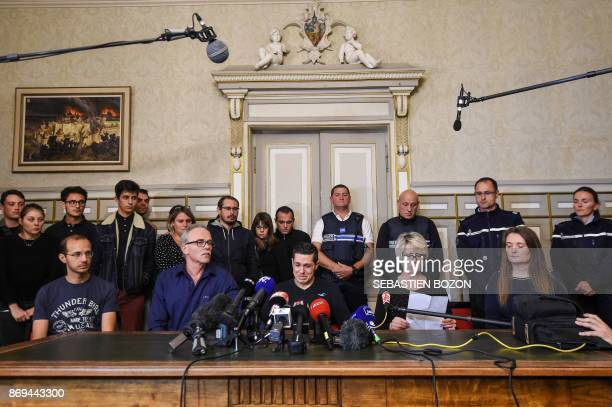 Relatives of murdered Alexia Daval her father JeanPierre Fouillot husband Jonathan Daval and mother Isabelle Fouillot give a press conference at the...