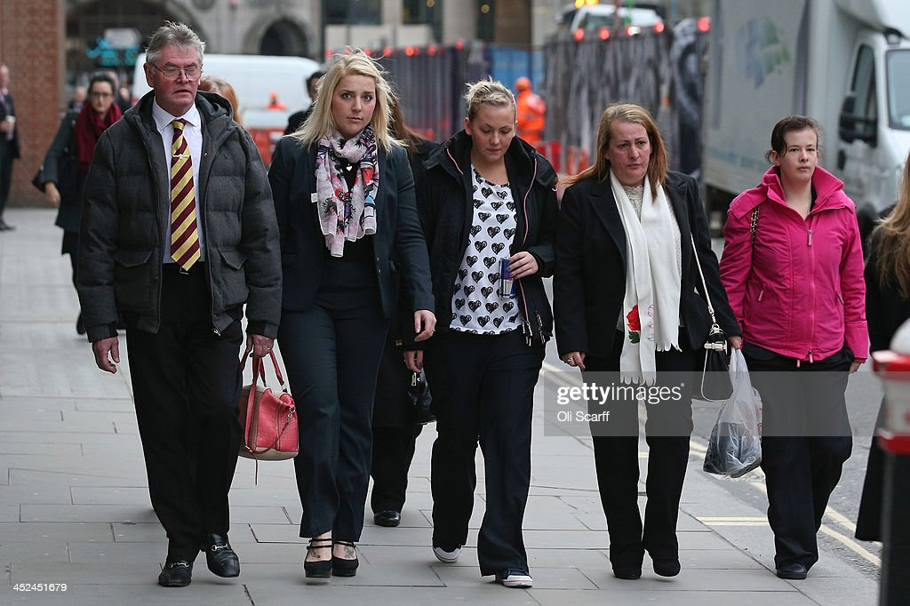Relatives of murdered fusilier Lee Rigby his stepfather Ian Rigby his sister Sara McClure his mother Lyn Rigby and his fiancee Aimee West arrive at...