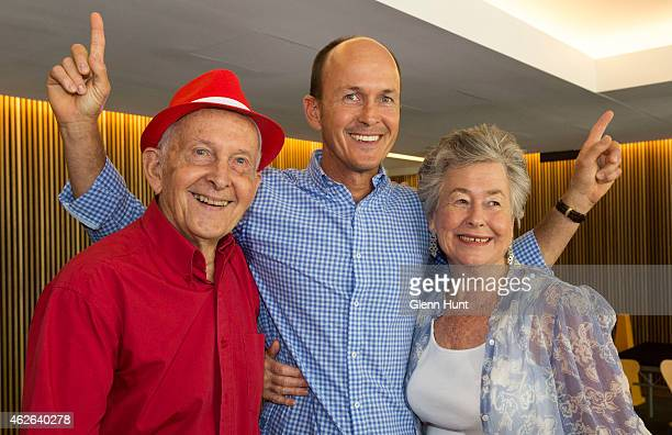 Relatives of Peter Greste father Juris Greste brother Andrew Greste and mother Lois Greste pose for a photograph after speaking to media...