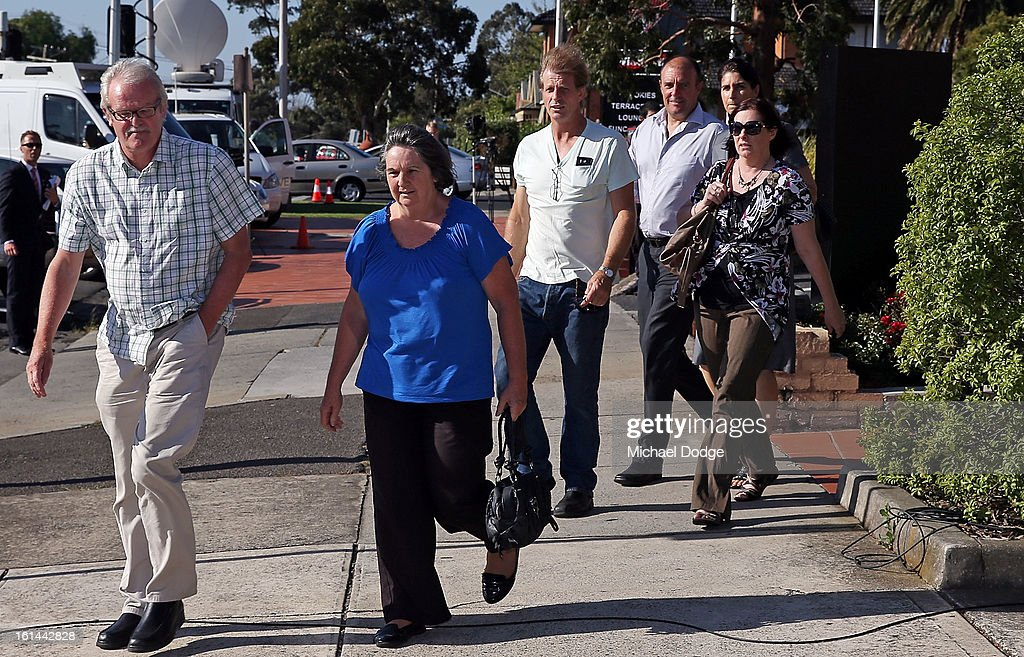 Relatives of players arrive ahead of a meeting between Essendon Bombers AFL staff, players and families at Windy Hill on February 11, 2013 in Melbourne, Australia.