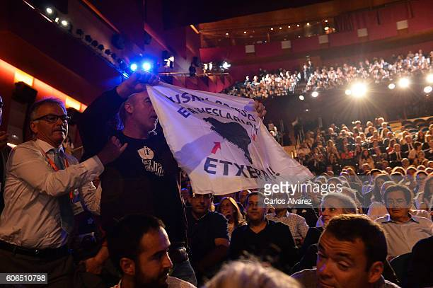 Relatives of prisoners of ETA burst into the stage demanding the departure of sick prisoners prison during the Opening Ceremony of 64 San Sebastian...